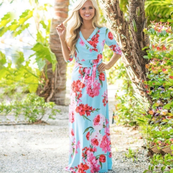 aabd85d16694 ☀️SALE☀ Turquoise and Pink Floral Wrap Maxi Dress